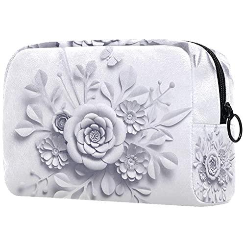 Kompakte Kosmetiktasche Schminktasche Geldbörse, Weiße Papierblume