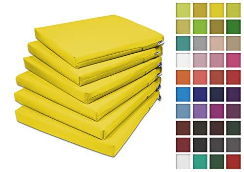 Rollmayer 6er Set Stuhlkissen Stuhlauflage Sitzkissen Sitzpolster Auflage für Stühle in Haus und Garten Kollektion Vivid (Gelb 5, 40x40x4cm)