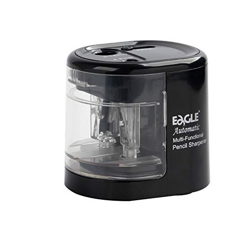 Eagle Electric Pencil Sharpener, Battery or USB Operated, Dual Holes, Dual Blades, fit for Pencils of Size 6-8mm and 9-12mm