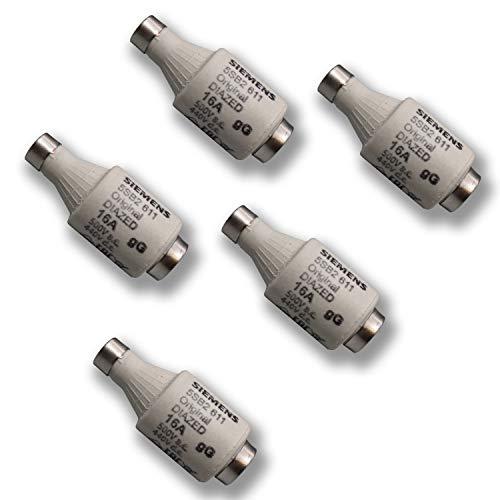 5 Stück Siemens Indus.Sector Diazed-Sicherungseinsatz DIAZED-Sicherungseinsatz 5SB2611 500V AC / 440V DC - gG - Gr. DII E27 16A - VPE = 5 Stück - Nachfolgertyp von 5SB261