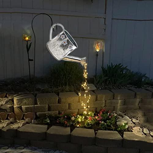 Gartenlampen Gießkanne Außen Gießkanne Garten Deko Watering Can Fairy Lights für Outdoor Garten Hof Stern Typ Dusche Garten Kunst Licht Dekoration Gartenarbeit Rasenlampe im Freien (A Mit Halterung)