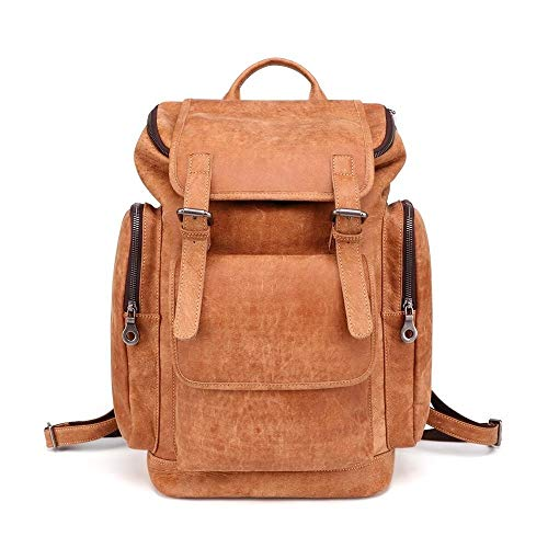 XIAOFENG-R Gelb Braun Mode Natürliches echtes Leder Vintage-Rucksack Mens Echter Leder-Beutel for 15.6 Laptop Herren Business-Taschen (Color : Brown, Size : S)