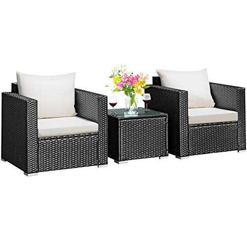 Tangkula 3 Pieces Patio Furniture Set, PE Rattan Wicker Sofa Set w/Washable Cushion and Tempered...