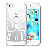 Clear Case for iPhone 5, iPhone 5S, iPhone SE, iPhone 5/5S/SE Video Game Undertale Characters Sans Pattern {Word} TPU Bumper Anti Scratch Thin Protective Cover