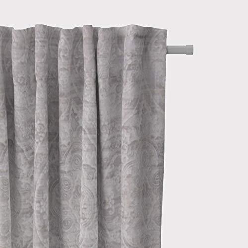 SCHÖNER LEBEN. Vorhang Velvet Deluxe Samt Barock Ornamente Creme Champagner grau 245cm oder Wunschlänge, Gardinen Aufhängung:Smok-Schlaufenband