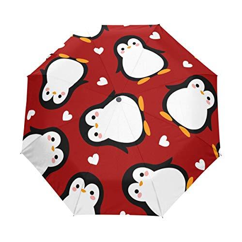 BIGJOKE Regenschirm mit niedlichem Pinguin-Muster, winddicht, leicht, kompakt, für Jungen, Mädchen, Männer und Frauen