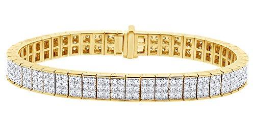 Forma rotonda bianco naturale con bracciale tennis in oro massiccio 10ct (8.95Cttw)