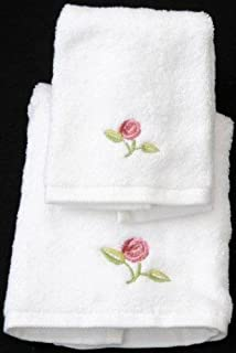 Face Cloth and Guest Towel in a Rennie Mack Pink Rose Design by Justina Claire
