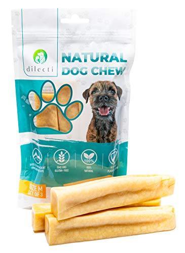 Prodotti da masticare naturali per cani - delizia per cani di lunga durata e molto gustosa! Gli snack per cani sono senza OGM o glutine, gli snack per cani sono inodori! (set da 3, taglia M)