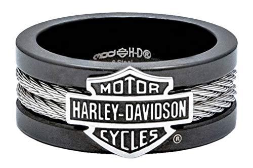 Harley-Davidson Men's Ring, Bar & Shield Steel Cable Band, Black HSR0021 (9)