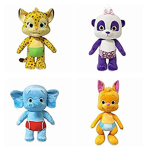 2020 New 25cm Word Party Plush Toys Learning Stuffed Toy Lulu Franny Bailey Kip Leopard Kangaroo Elephant Panda Doll Kids Gifts 4pcs