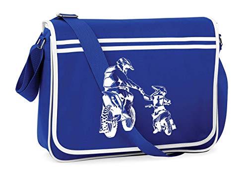 Druckerlebnis24 Schultertasche - Motocross Pocketbike Vater Sohn - Umhängetasche, geeignet für Schule Uni Laptop Arbeit