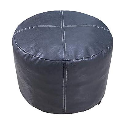 "Thgonwid Nordic Faux Leather Pouf, Premium Handmade Ottoman, Footstool Storage Solution, Decor Bedroom Living Room - 14""x18"" - (Unstuffed), Deep Grey"