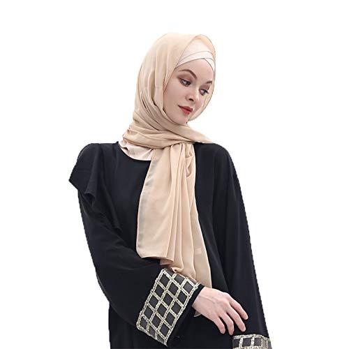 keepmore Musulmano Copertura completa Hijab Donne Caps Islamico Tacchino Bonnet Cappello Arabia Foulard Tinta unita Chiffon Ramadan Preghiera Lungo Scialle