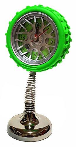 Quarz Wecker Uhr Tischuhr Reifen Auto Felgen Federuhr Federwecker Autoreifen Garage Werkstatt Tuning Tisch Deko Zeit Car Büro Grün NEU