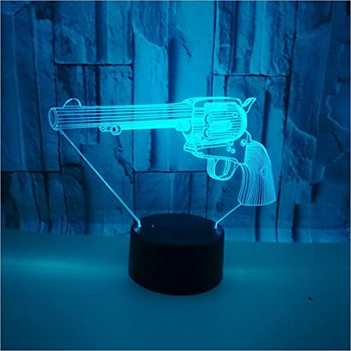 YQTYGB LED Lámpara de Mesa 3D con Control Sensor Regulable Lámpara de Noche de Atmósfera,Tacto Lámpara de Visual Para Niños Regalos.Pistola Redonda Izquierda
