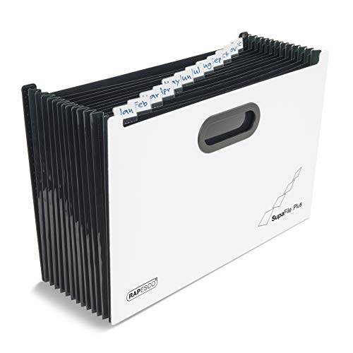 Rapesco 1624 SupaFile™ Plus 13-teilige A4+-Fächermappe im Querformat - schwarz/weiß
