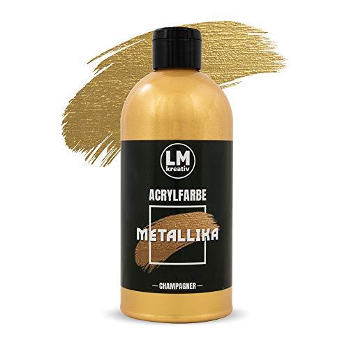 LM Metallika 500 ml Champagner - Acrylfarbe für Metallic Metall-Glanz, Effekt-Farbe Bastel-Farbe, Deko-Farbe metallisch glänzend