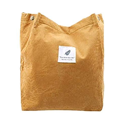 Flybloom Frauen Cord Umhängetaschen Einkaufstasche Tote Umhängetaschen Geldbörsen Lässige Handtasche,Ingwer gelb