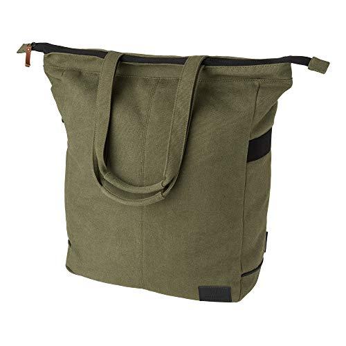 FastRider Celo Fahrradtasche für Gepäckträger, 23L Seitentasche Fahrrad, 100% Kanevas Gepäckträgertasche, Wasserabweisend, Reflektierend, Einfache Montage - Grün