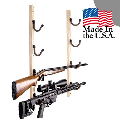 Hold Up Displays - Horizontal Hardwood Gun Rack Firearm Wall...