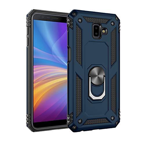 Capa Samsung Galaxy J6 Plus Case Protetor Material militar TPU macio +couro de PC proteção dupla camada de metal magnético para carro Suporte 360 graus girado anti-queda e anti-riscos capa:Azul