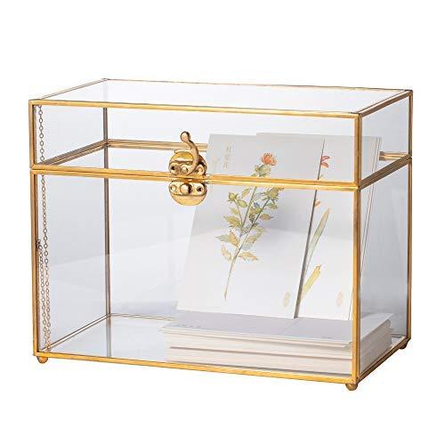 NCYP Glaskarten-Box, großes geometrisches Terrarium, goldfarben, handgefertigt, Messing, Vintage, rechteckige Form mit Fuß für Hochzeitseingaben, Wunschgut, Andenken, Tafelaufsatz, stabil(nur Glasbox)