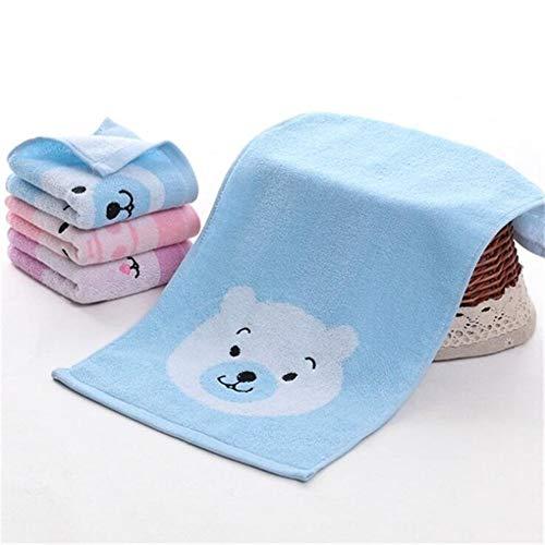 ROTAKUMA Coton 25 * 50cm Cartoon Porc Ours Lapin Visage Serviette Sèche Serviette De Bain Douce Soins De La Peau Douches Cheveux Serviettes for Les Enfants (Color : Blue)