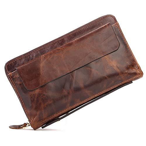 Mubolin Cartera de Pulsera de Cuero Vintage para Hombres Delgado bifoldo bifolle Billetera Alrededor de Billetera de Embrague