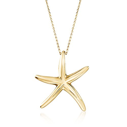 Ross-Simons Italian 18kt Yellow Gold Starfish Drop Necklace. 18 inches