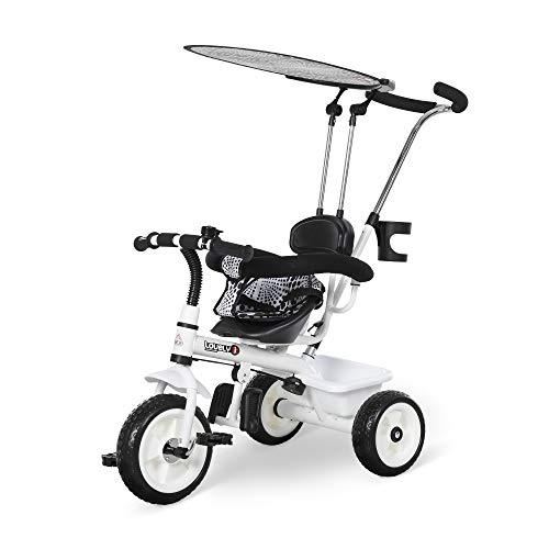 homcom Triciclo Deluxe con Maniglione, Parasole, Passeggino per Bimbo in Metallo, 103 x 47 x 101cm