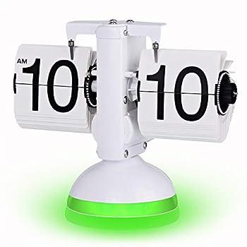 WoneNice Retro Flip Clock- Internal Gear Operated Digital Desk Clock  White/Green
