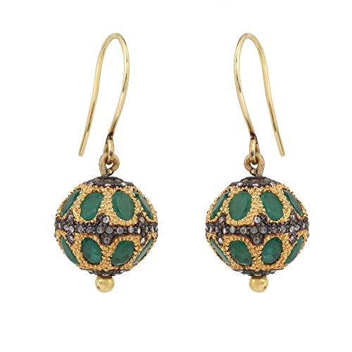 Pendientes de diamante esmeralda certificado para mujer con diamante natural marrón de 0,74 quilates (claridad I2-I3) en plata de ley 925 con gancho de oro de 14 quilates