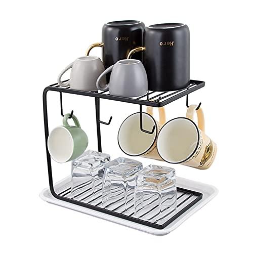Porte-café en métal avec Support pour Organisateur, Support pour sécheuse de Plateaux à 2 Niveaux pour comptoir, Bureau   Support d'affichage pour Le séchage des Tasses de Cuisine avec 6 Crochets