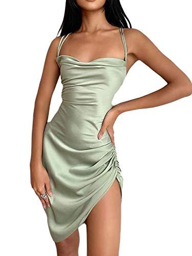 FGHDR Damen Sommer Einfarbig Cami Kleid Glatt Satin Seide Lace-up Rückenfrei Minikleid Seite Kordelzug Club Kleid (Grün, Small)