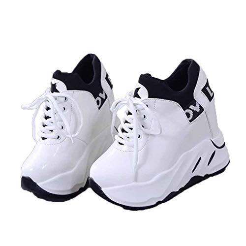 Jwans Damen Plateau Wedge Schuhe wasserdichte runde Zehen Low Top Schnürschuhe Outddoor Sport rutschfeste Walking Casual Sneakers