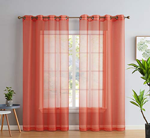 HLC.ME 2 Piece Semi Sheer Voile Light Filtering Window Curtain Grommet Panels for Bedroom, Living Room & Dining Room - Coral Pink - 54 W x 84 inch Long