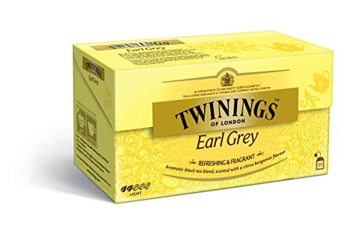 Twinings Earl Grey Schwarztee 50g, 25 Teebeutel, ∙ Hochwertiger Schwarztee im Beutel ∙ Schwarzer Beuteltee mit Bergamotte Aroma ∙ Tee 1er Pack (1 x 50 g)