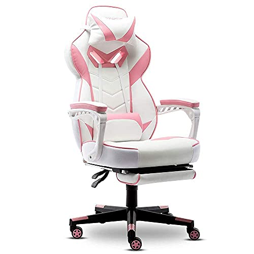 Bonzy Home Gaming Chair,Computer Office Chair Ergonomic PU Leather Chair with Footrest,Recliner Computer Chair with Headrest & Lumbar,Video Game Chairs with 360°-Swivel Seat for Gaming or Office,Pink
