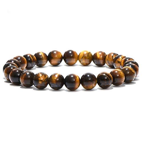 SASCD 4mm 6mm 8mm 10mm Tigre Eyes Beads Pulsera Hombres Charm Piedra Braslet para Hombre Hecho a Mano Regalos de joyería Casuales para Perlas de oración (Length : 6mm, Metal Color : Yellow)