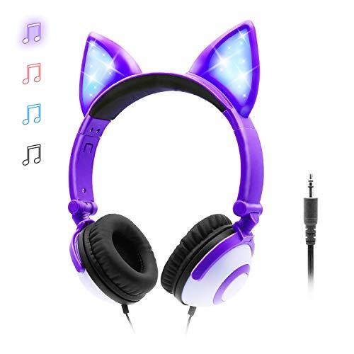 ONTA Auriculares para Niños con LED Brillante De Gatos Monos para Oído, Plegable, Cancelación De Sonido y Ajustables, Auriculares De Pequeños para Niños y Niñas (Morado)