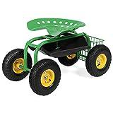 Goplus Garden Cart Rolling Work Seat Outdoor Lawn Yard Patio Wagon...