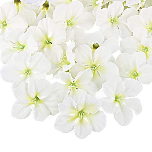 FLOFIA 50pz Teste di Orchidea Fiori Artificiali in Seta Mini Fiori Orchidea Finti Artificiali per Decorazioni Matrimonio Nozze Casa Festa Cerimonia Capelli Artigianali (6cm Bianco Crema)