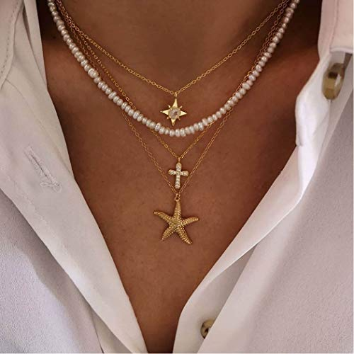 Handcess Boho - Collar con colgante de estrella de mar y cruz de oro con cadena de perlas con cristal para mujeres y niñas