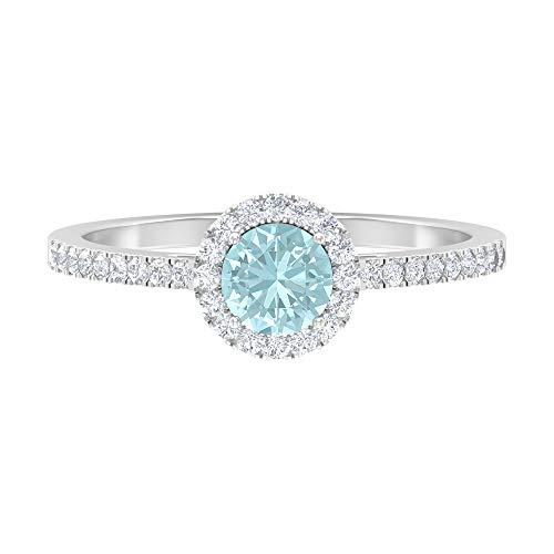 Anillo de topacio azul cielo de 5 mm, anillo de diamantes HI-SI, anillo de compromiso de oro (calidad AAA), 14K White Gold, Sky Blue Topaz, Size:US 66