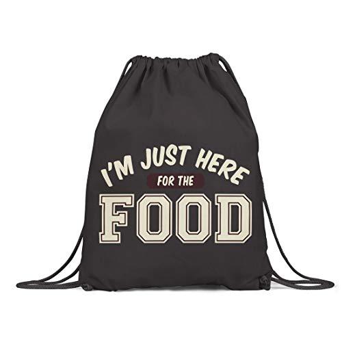 BLAK TEE I Am Just Here for The Food Organic Cotton Drawstring Gym Bag Nero