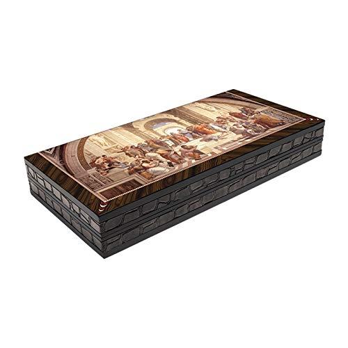 L.J.JZDY Schachbrett Backgammon setelite Vinyl cellophan beschichtete hölzerne Klassische Design mosaikbrett Spiel tafra magnetische schließung mechanismus kratzfreies Erwachsener Kinder Cafe