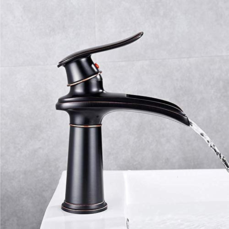 Gcbpwh Wasserhahn Schwarz Becken Wasserhahn Moderne Wasserhahn Chrom Einhand Wasserfall Waschtischmischer Hot & Cold Water Sink Tap Messing Gemacht