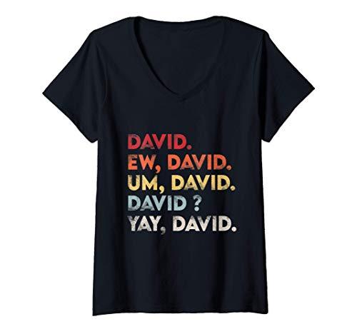 Mujer Ew David Shirt Funny Vintage Retro Distressed Women Gift Camiseta Cuello V