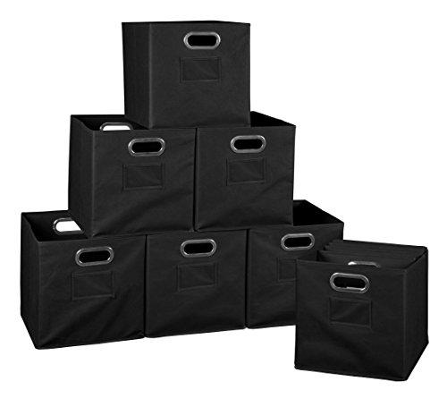 Niche Set of 12 Cubo Foldable Fabric Bins- Black